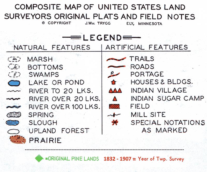 Composite Map of US Land Surveyors Original Plats & Field Notes Legend